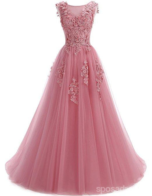 Custom 2018 Formal Pink Lace A-line Long Evening Prom Dresses, 17669