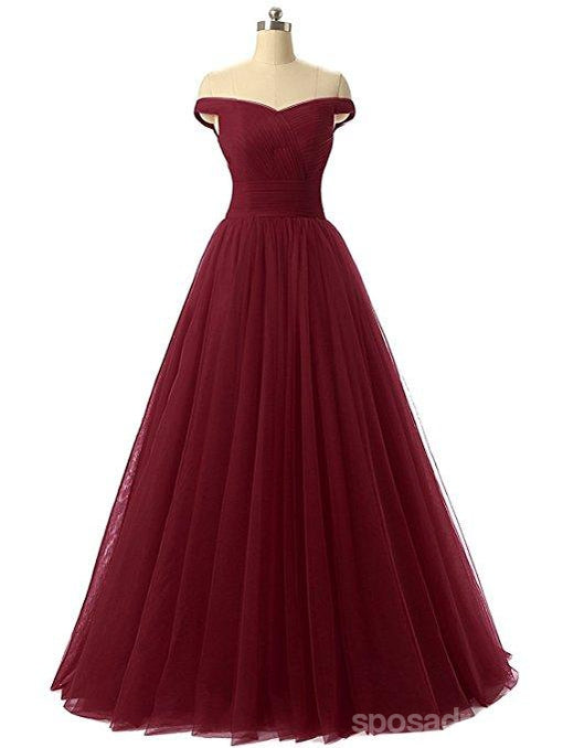 Simple Off Shoulder Red Tulle A-line Long Evening Prom Dresses, 17670