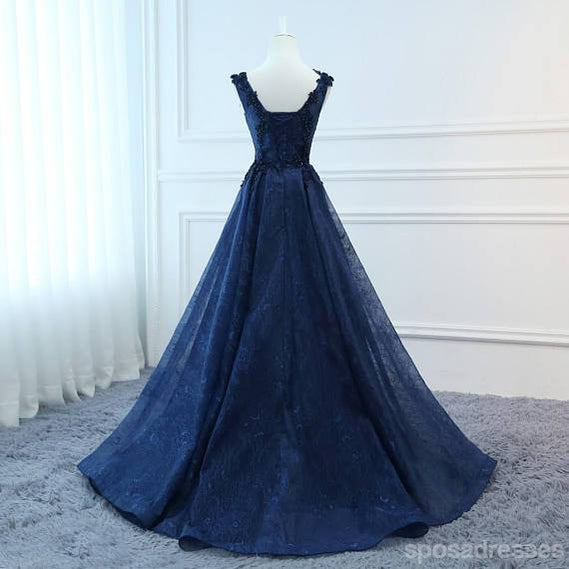Corset Navy V Neck A-line Lace Custom Long Evening Prom Dresses, 17716