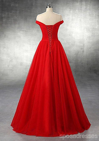 Simple Off Shoulder Maroon Tulle A-line Long Evening Prom Dresses, 17670