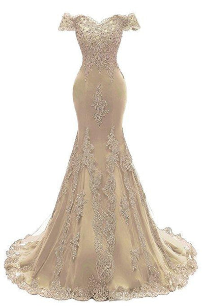 Off Shoulder Gold Lace Mermaid Long Evening Prom Dresses, 17671
