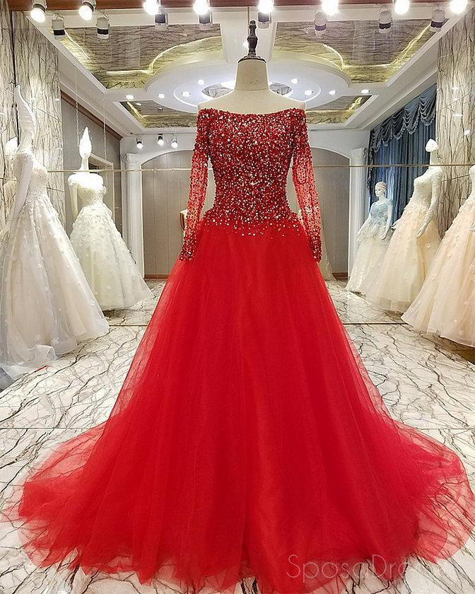 Off Shoulder Long Sleeve Rhinestone Beaded Long Evening Prom Dresses, 17674
