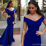 Popular Royal Blue Off Shoulder Mermaid Long Evening Prom Dresses, 17675