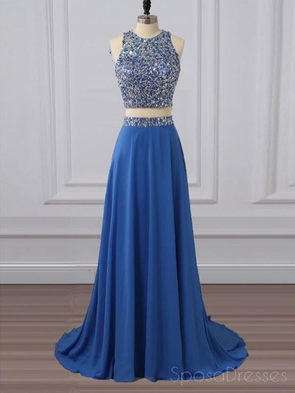 Two Pieces Rhinestone Beaded Chiffon Blue Long Evening Prom Dresses, 17655