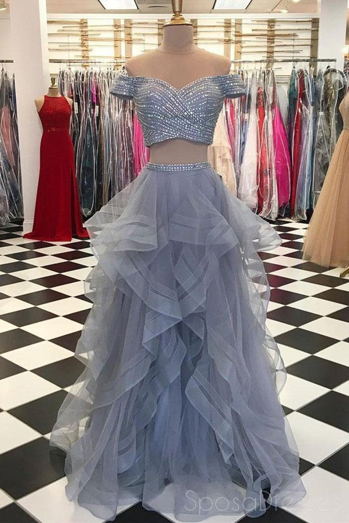 Two Pieces Off Shoulder Grey Beaded Custom Long Evening Prom Dresses, 17712