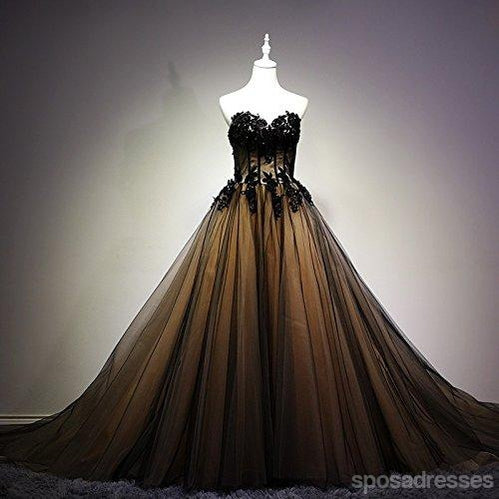 2018 Sweetheart Black Tulle A line Long Evening Prom Dresses, 17676