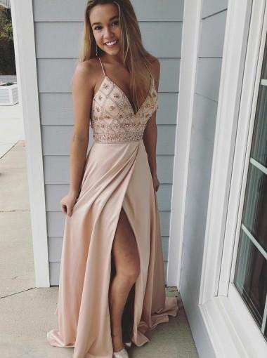 Side Slit Champagne Spaghetti Straps Long Evening Prom Dresses, Cheap Sweet 16 Dresses, 18308