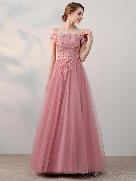 Off Shoulder Pink Tulle A-line Long Evening Prom Dresses, 17681