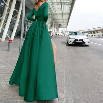 Long Sleeve V Neck Side Slit Long Evening Prom Dresses, 17682