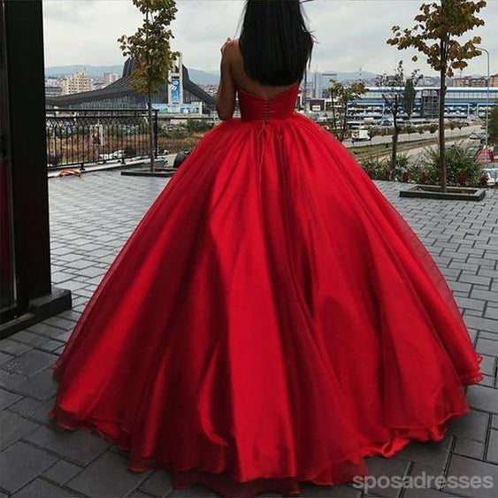 Simple Red Sweetheart A-line Ball Gown Long Evening Prom Dresses, 17683