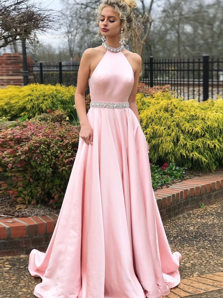 Sexy Backless Pink Halter A-line Long Evening Prom Dresses, 17685