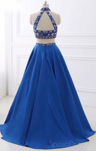 Sexy Two Pieces Rhinestone Open Back Blue Long Evening Prom Dresses, 17656