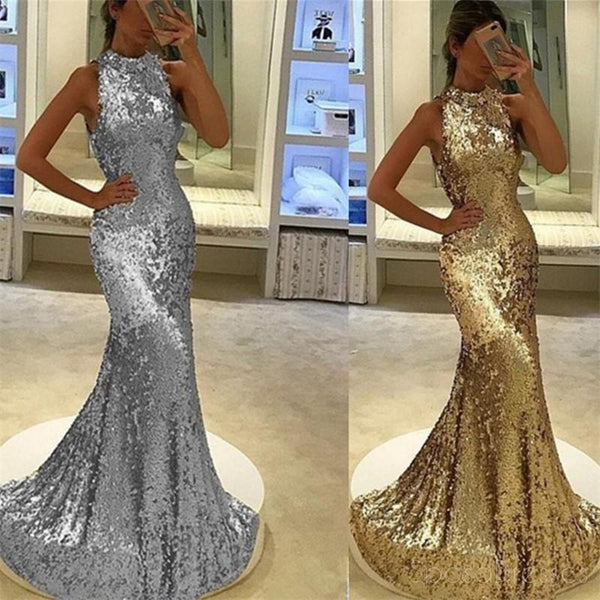 Sexy Mermaid Sparkly Gold & Silver Sequin Long Evening Prom Dresses, Popular Cheap Long 2018 Party Prom Dresses, 17297