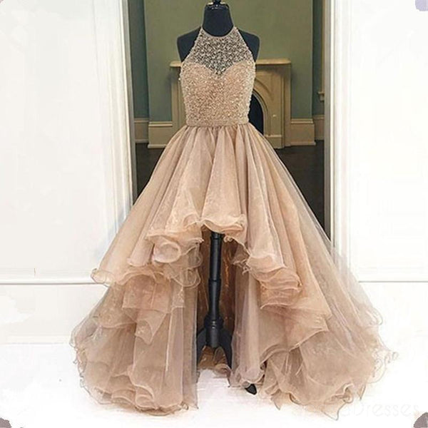 2017 High Low Evening Prom Dresses, Long A line Party Prom Dress, Custom Long Prom Dresses, Cheap Formal Prom Dresses, 17060