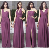 Cheap Chiffon Mismatched Purple Long Bridesmaid Dresses, Affordable Unique Custom Long Bridesmaid Dresses, Affordable Bridesmaid Gowns, BD111