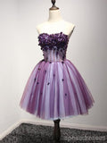 Purple Strapless Lace Homecoming Prom Dresses, Cheap Homecoming Dresses, CM214