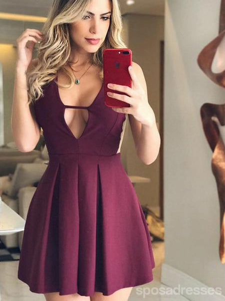Sexy Backless Halter Purple Cheap Short Homecoming Dresses Online, CM644