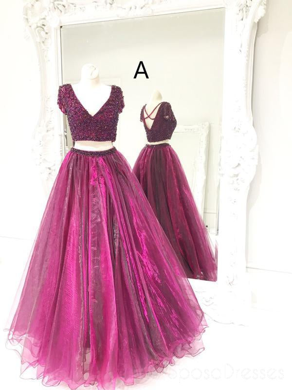 Sexy Purple Two Pieces Backless Beaded Long Evening Prom Dresses, 17565