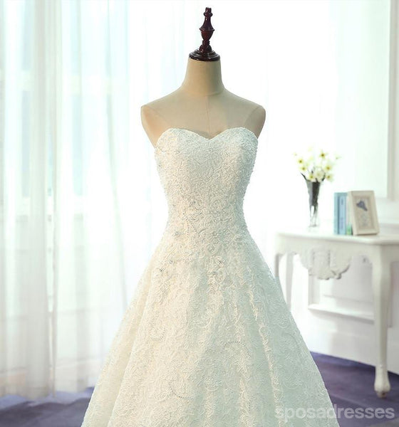 Strapless A Line Lace Sweet Heart Wedding Bridal Dresses, Custom Made Wedding Dresses, Affordable Wedding Bridal Gowns, WD236