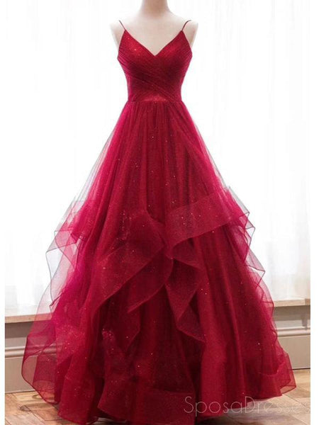 Sexy Backless Red Sparkly Long Evening Prom Dresses, Cheap Custom Party Prom Dresses, 18587