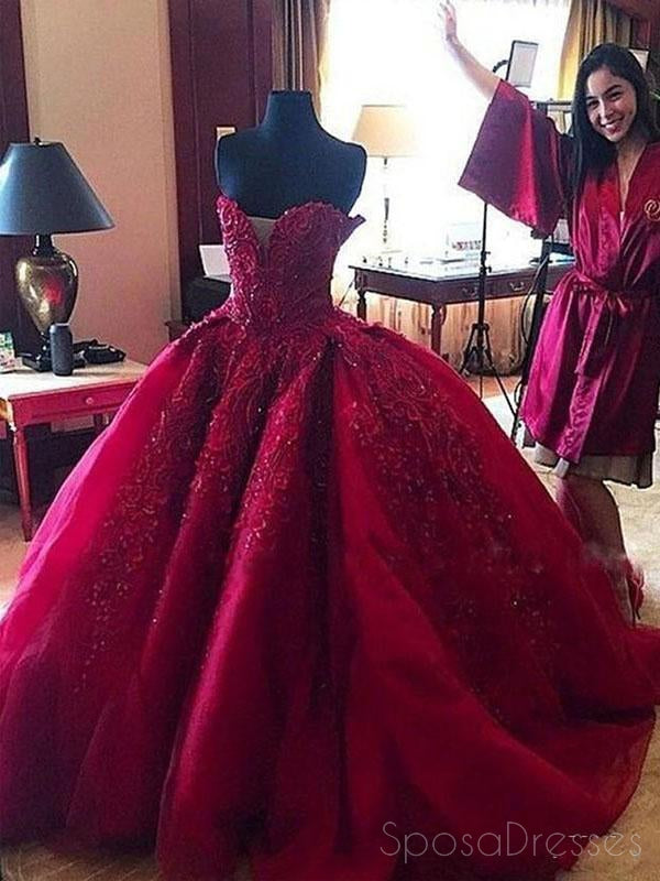 Dark Red Sweetheart Neck Lace Beaded Ball Gown Long Custom Evening Prom Dresses, 17415