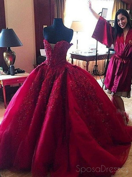 Maroon Sweetheart Neck Lace Beaded Ball Gown Long Custom Evening Prom Dresses, 17415
