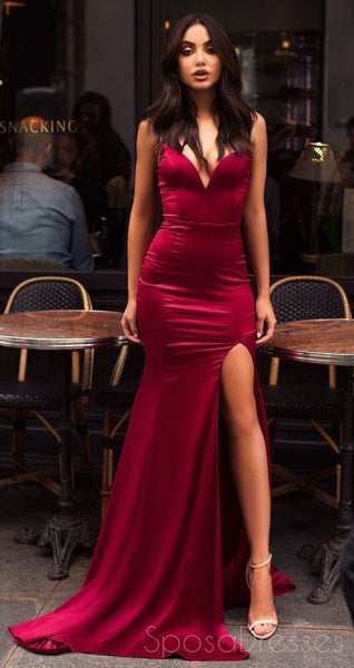 Dark Red Side Slit Mermaid Long Evening Prom Dresses With Pockets, Cheap Custom Party Prom Dresses, 18610