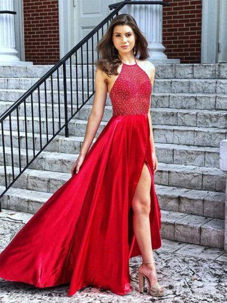 Bright Red Halter Side Slit Beaded Evening Prom Dresses, Cheap Custom Sweet 16 Dresses, 18480