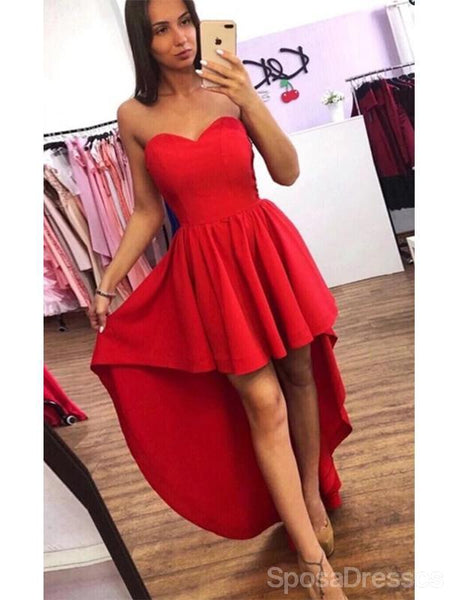 Simple Red High Low Simple Cheap Short Homecoming Dresses Online, Cheap Short Prom Dresses, CM827
