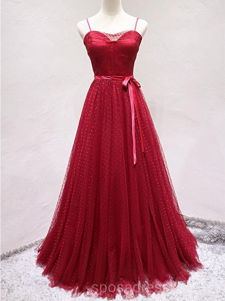 Spaghetti Straps Red Lace Long Evening Prom Dresses 0ccc8383a