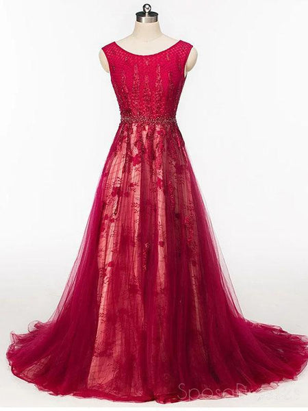 Scoop Cap Sleeves Red Lace Beaded Long Evening Prom Dresses, Cheap Custom Sweet 16 Dresses, 18524