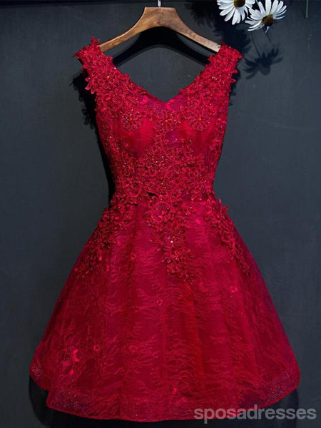 Two Straps Red Lace Heavily Beaded Homecoming Prom Dresses, Cheap Homecoming Dresses, CM265