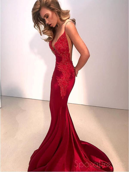 Sexy Backless Red Mermaid Long Evening Prom Dresses, Cheap Custom Party Prom Dresses, 18575