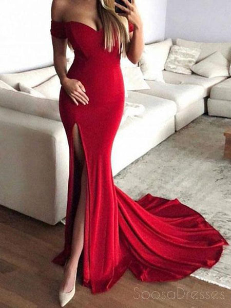Simple Red Mermaid Side Slit Off Shoulder Long Evening Prom Dresses, Cheap Sweet 16 Dresses, 18441