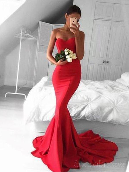 Strapless Maroon Mermaid Evening Prom Dresses, Long Simple Party Prom Dresses, 17123