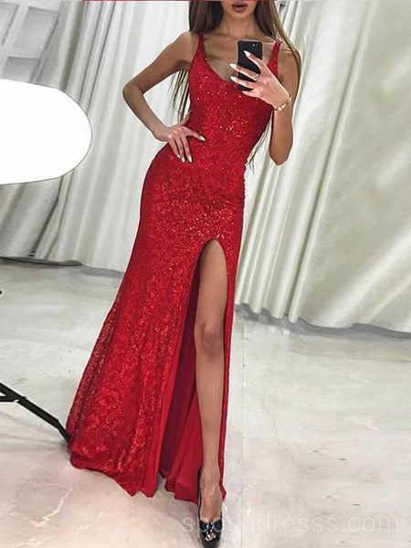 Sexy Sparkly Red Mermaid Side Slit Long Evening Prom Dresses, Cheap Custom Sweet 16 Dresses, 18548