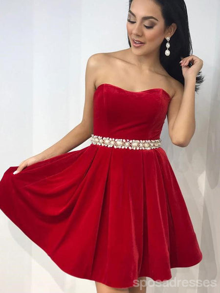 Scoop Red Simple Pearls Beaded Belt Cheap Short Homecoming Dresses Online, CM593
