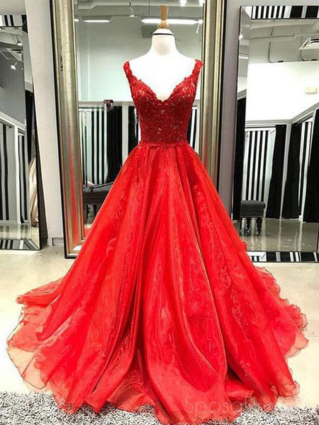 Two Straps V Neck Bright Red A line Long Custom Evening Prom Dresses, 17454