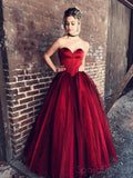 Strapless Sweetheart Maroon Ball Gown Floor Long Custom Evening Prom Dresses, 17422