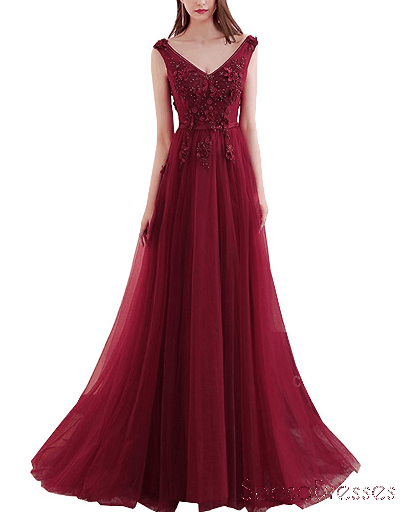 Dark Red Sexy Deep V Neckline Lace Beaded Long Evening Prom Dresses, Popular Cheap Long 2018 Party Prom Dresses, 17300