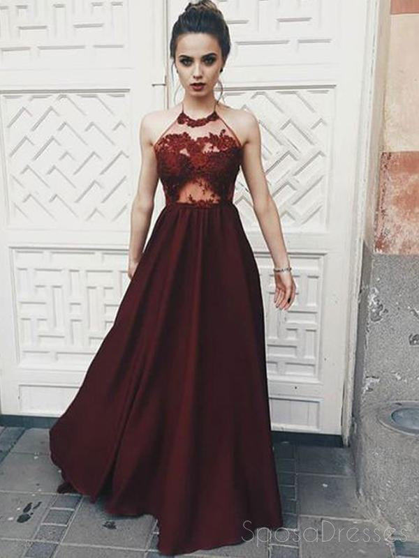 Sexy See Through Maroon Halter Lace Long Custom Evening Prom Dresses, 17409