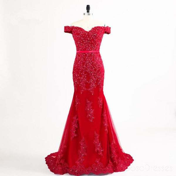 Red Sexy Mermaid Off Shoulder Lace Beaded Evening Prom Dresses, Popular Beaded Party Prom Dress, Custom Long Prom Dresses, Cheap Formal Prom Dresses, 17154