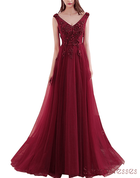 Maroon Sexy Deep V Neckline Lace Beaded Long Evening Prom Dresses, Popular Cheap Long 2018 Party Prom Dresses, 17300