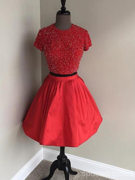 Two Pieces Short Sleeves High Neck Short Red Homecoming Dresses 2018, CM521