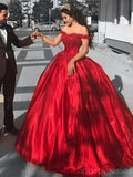Off Shoulder Red Ball Gown Long Prom Dresses, Sweet 16 Prom Dresses, 12381