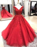 Off Shoulder Red A-line Lace Custom Long Evening Prom Dresses, 17721