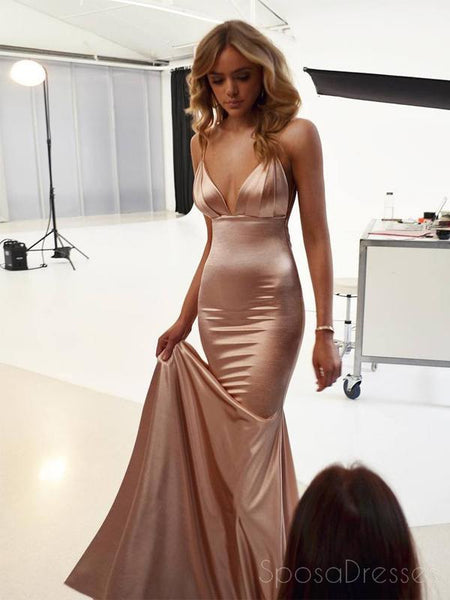 f9b81549865 Sexy Backless Rose Gold Mermaid Long Evening Prom Dresses, Cheap Custom  Party Prom Dresses,
