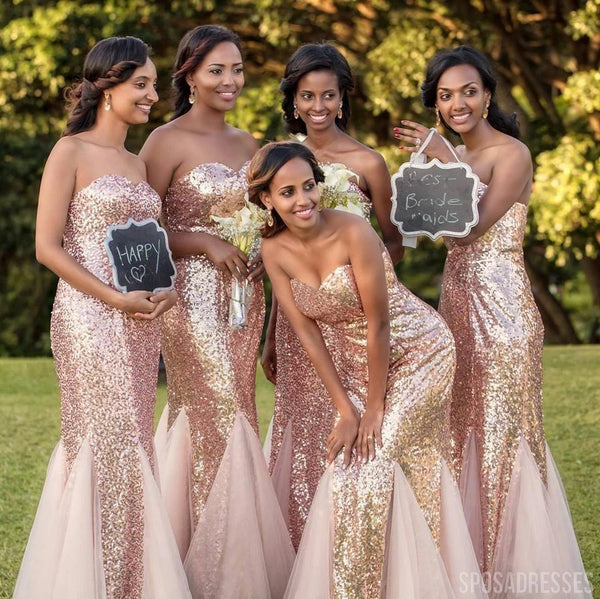 Mermaid Rose Gold Sequin Long Bridesmaid Dresses Online, WG745
