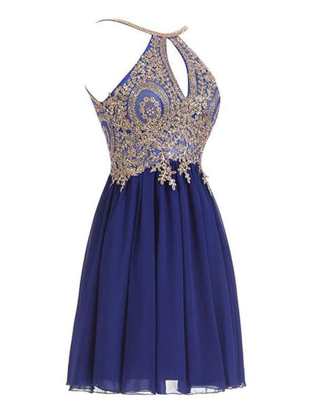 fdce718aa34 Halter Gold Lace Beaded Chiffon Short Cheap Homecoming Dresses Online