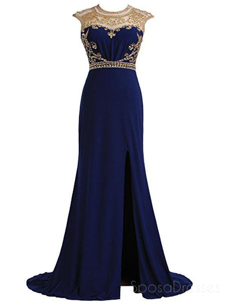 Royal Blue Gold Beaded Side Slit Mermaid Long Evening Prom Dresses, 17677